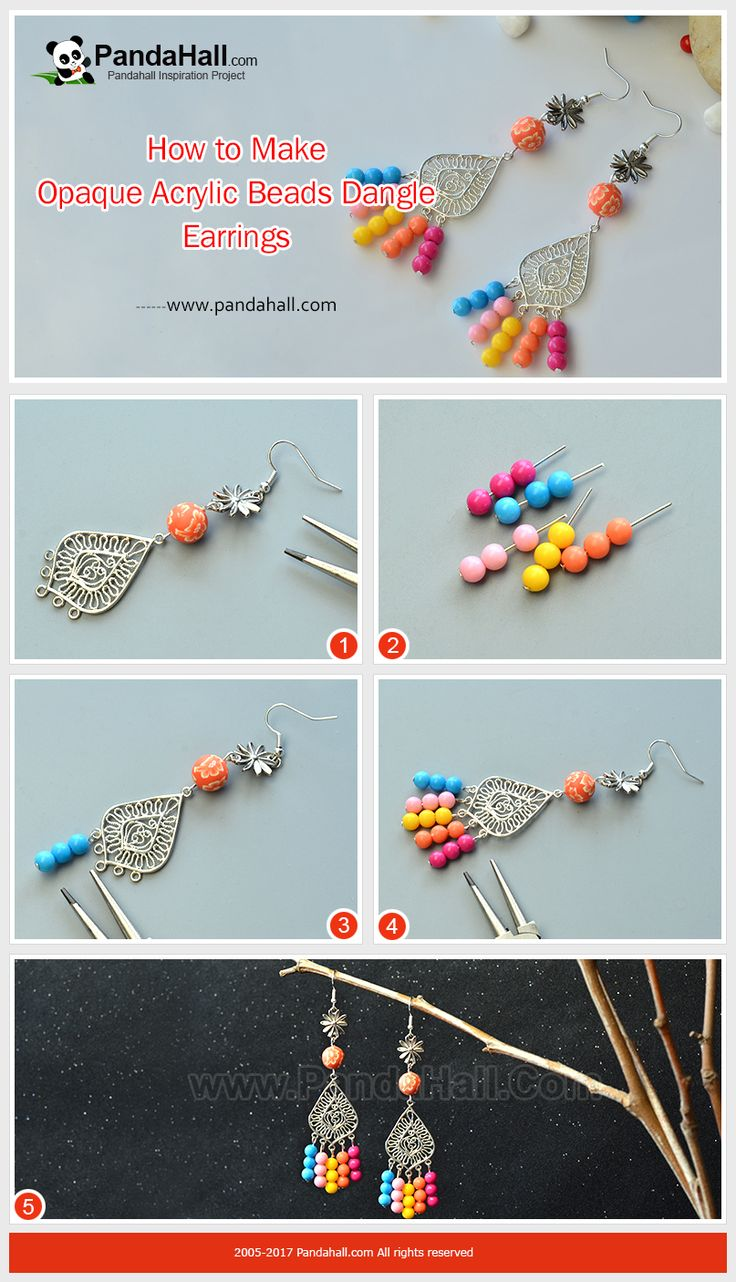 How to DIY Opaque Acrylic Beads Dangle Earrings The main materials of the earrings are clay beads, acrylic beads and Tibetan style links. The making way is to use the beads and links to make dangles of the earrings! It's very easy to make!