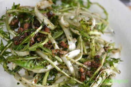 Dendelion salad with asiatique cress dressing