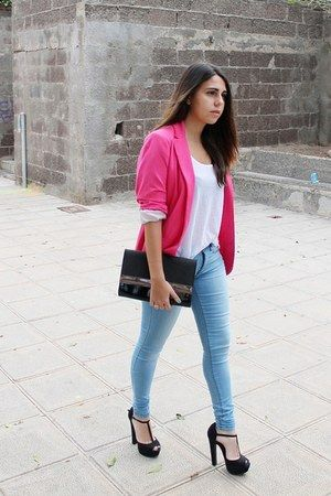 "Light Blue Primark Jeans, Hot Pink Stradivarius Blazers, Black H&M Bags |  ""Basic"" by ElsaGervasi 
