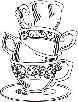 Embroidery Designs at Urban Threads - Teacup Stack