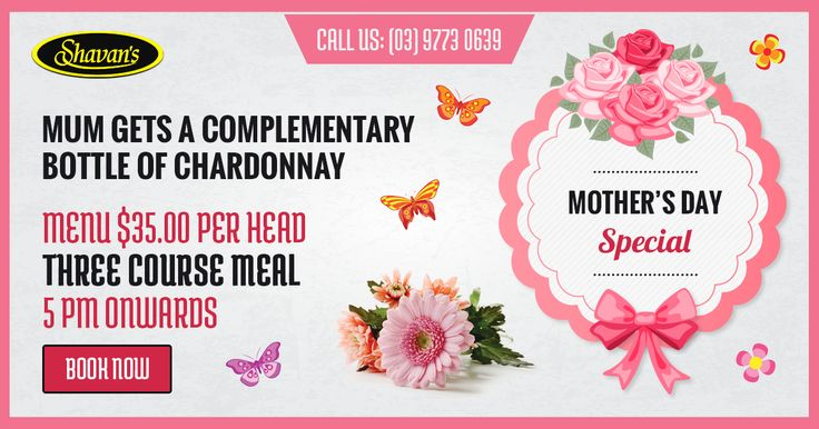Mother's Day dinner at Shavan's | 3-course meal at $35
