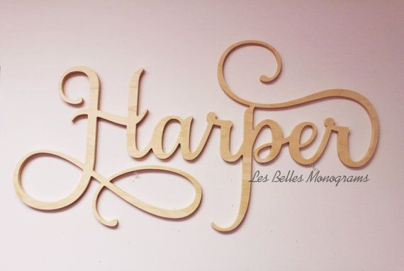 Personalized Wooden Name Sign Wall Hanging by LesBellesMonogram