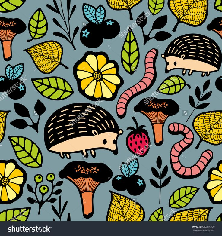 Endless background with floral elements and wild animals. Seamless pattern in vector. Hedgehogs, worms, strawberries, mushrooms and autumn trees.