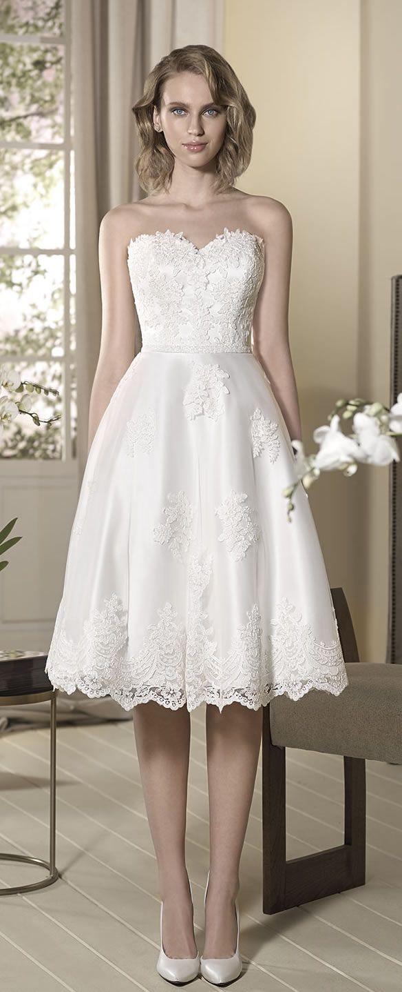 Unique Cabotine Knee Length Wedding Dress