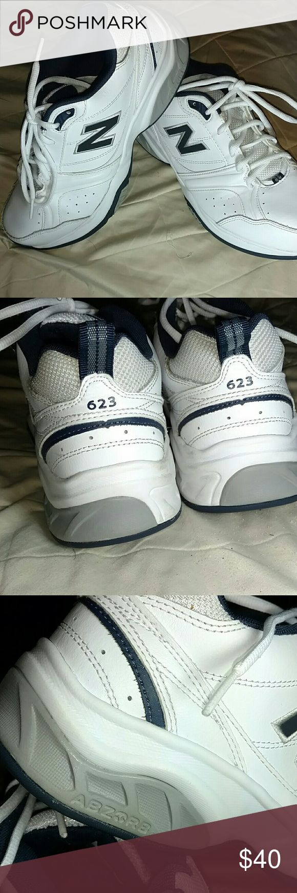 New Balance Men's 623 v3 Cross Trainers Excellent condition, worn a few times. Color Navy and White. Comes from a smoke free and pet free home.   ABZORB? cushioning Technology Leather  Uppers Quiz traction Outsole Eva foam midsole. New Balance Shoes Sneakers