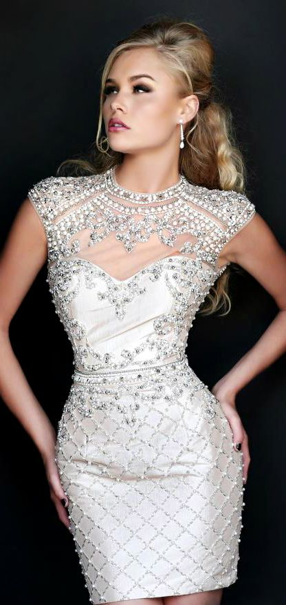 Sherri Hill Silver Cocktail Dress