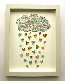 Rain cloud with hearts made out of map print