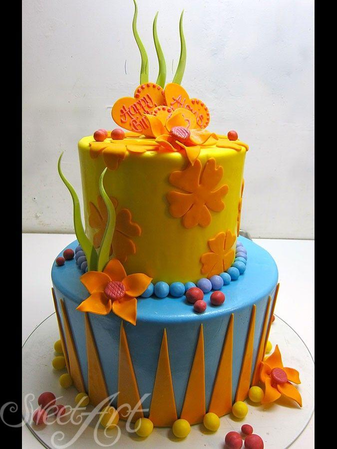 Orange Yellow Blue And Green Garden Cake Designer Birthday Wedding Anniversary