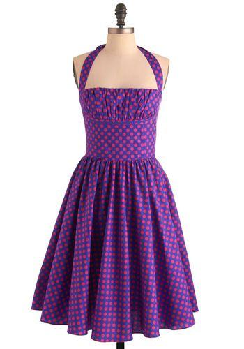 Bernie Dexter Yours Always Dress in Dots | Mod Retro Vintage Dresses | ModCloth.com: Dots Dresses, Pink Polka Dots, Purple Dresses, 50 Style, Dexter Dresses, Color, Bernie Dexter, Polkadots, Halter Dresses
