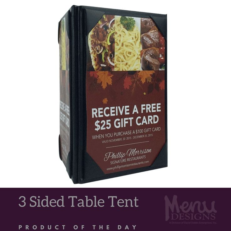 Table menu holders differ from menu covers because even after the menus are gone, these table tent holders camp out and remain in sight throughout the whole dining experience! #tabletent #campout #menu #covers #dining #restaurant #customerexperience #bar #tabletopmarketing #advertising