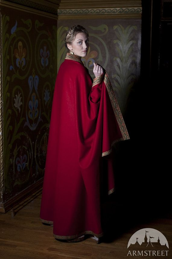 15% DISCOUNT Wool Cape Anne of Kiev red cloak red by armstreet