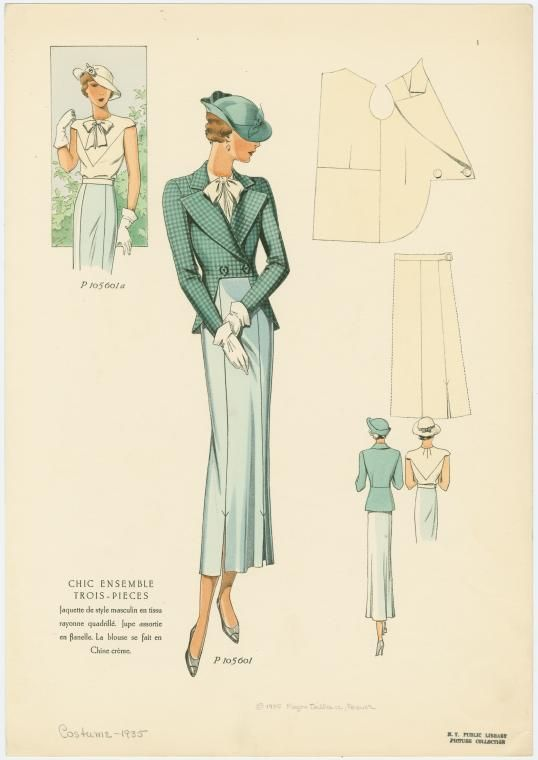 I love the jacket hem cut-up  1935 via the NYPL Digital Gallery