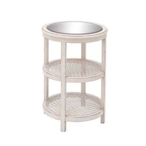 Elegant Wood Mirror Metal White Accent Table
