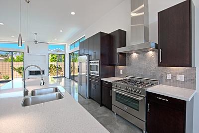Espresso Cabinets Gray Tile Flooring White Countertops