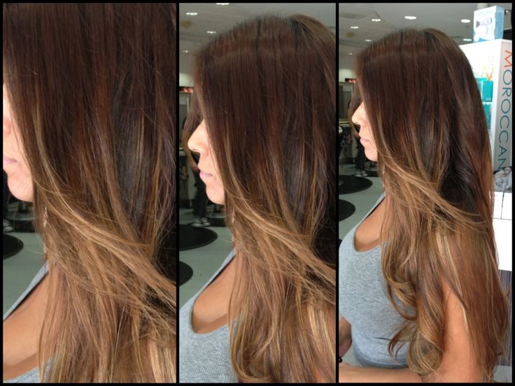 Ombre Hair Brown To Caramel To Blonde Medium Length Medium chocolat...