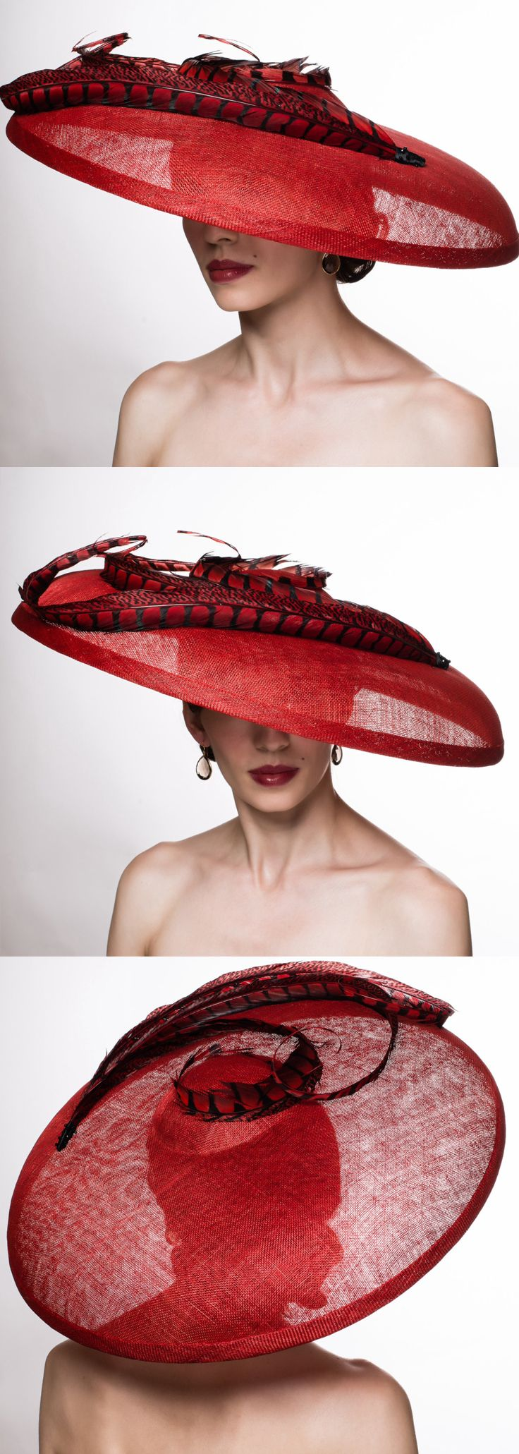 Large Bright Cherry Red Downturned Pheasant Trimmed hat. Super Super Fun for a spring summer Mother of the bride, or outfit for day at the races, royal ascot, kentucky derby, epsom derby. Aintree, Ascot Ladies Day outfits. Outfit inspiration Day at the Races, weddings. Wedding Outfits #weddings #fashion #racingfashion #kentuckyderby #royalascot #ladiesday #bighats #derbyoutfits #outfits #derbyhats #affiliatelink #outfitideas #weddingguest #passion4hats #racingfashion