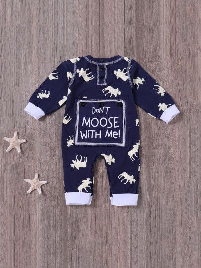 63eb02e68b6a1 Boys Animal And Letter Print Jumpsuits -SheIn(Sheinside) #ToddlerJumpsuits
