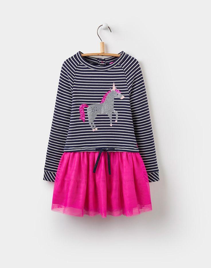 Hettie Glitter Unicorn Layered Dress 1-6yr  | Joules UK