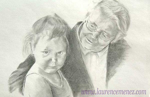Grand-mère et sa petite-fille. Dessin réalisé au fusain d'après photo.