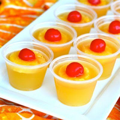 Upside Down Pineapple Jello Shots  Ingredients (8-10 large jello shots) 1 cup canned pineapple juice 1.5 packets Knox unflavored gelatin 1 tablespoon sugar (optional) 1 cup cake flavored vodka (or whipped vodka or vanilla) pineapple maraschino cherries plastic shot cups