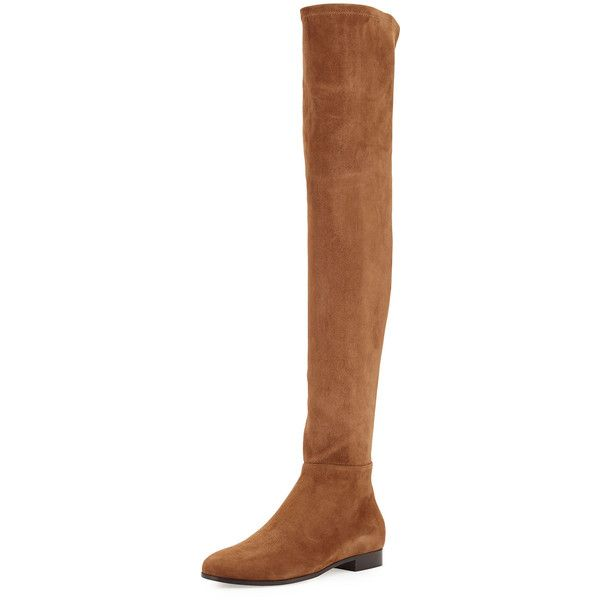 Jimmy Choo Myren Stretch-Suede Over-the-Knee Boot (24 020 ZAR) ❤ liked on Polyvore featuring shoes, boots, khaki brown, over the knee boots, brown flat boots, suede thigh high boots, brown suede over the knee boots and thigh high boots