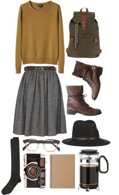 coldskinandbones:  High Highs / Open Season by rebeccarobert featuring a khaki messenger bag A.P.C. oxford sweater / Tweed skirt, $45 / Knee length socks, $17 / Madewell / Ted Baker khaki messenger bag, $145 / rag & bone wool felt hat / Recycled Paper Note - Double Ring A5 - Plain 80 / FÖRSTÅ