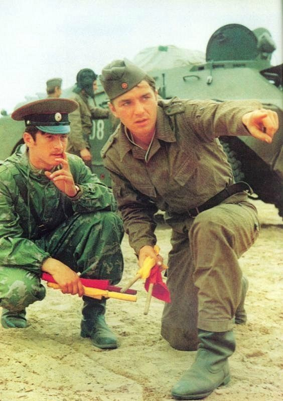 Soviet and East German soldiers during combined military exercises.