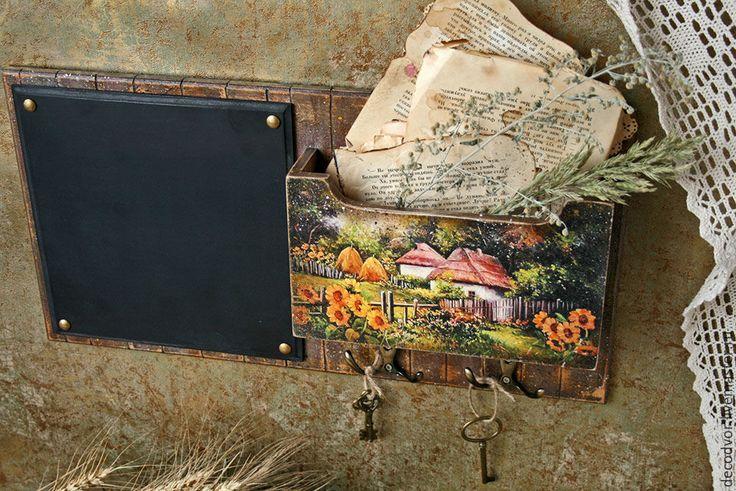 """Купить Органайзер с меловой доской """"Хуторок"""" - коричневый, меловая доска, ключница, вешалка, для писем"""