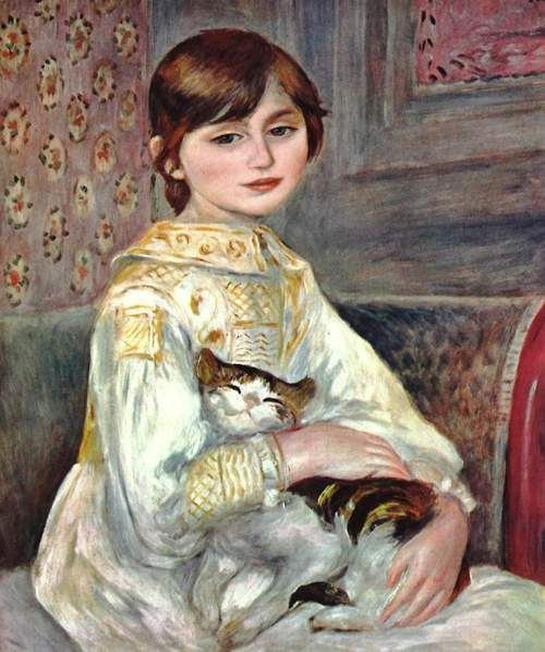 Auguste Renoir  L'enfant au chat (1887)  Portrait of Julie Manet, Berthe Morisot's Daughter  Musée d'Orsay, Paris
