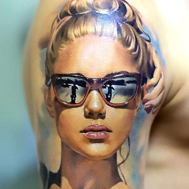 Great Girl Face Tattoo Idea