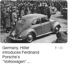 "Hitler and Dr. Porsche officially introduce the new VW Beetle (""Käfer"" in German) to the public"