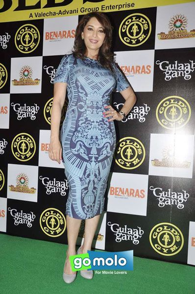 Madhuri Dixit-Nene at the Promotion of Hindi movie 'Gulaab Gang' at Gold Gym in Bandra, Mumbai