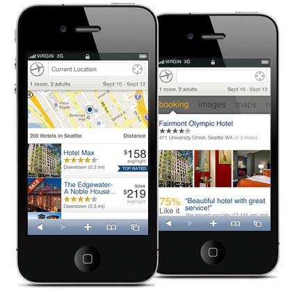 Scoutzie.com: Expedia mobile web, iPhone