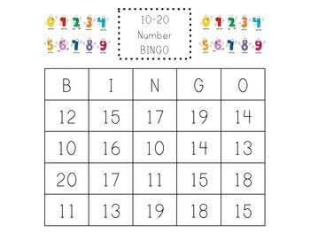 ... Number Cards | FREE class set of number BINGO cards, numbers 10-20
