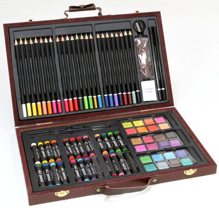 Gran conjunto del artista / pintura fijado en caja de madera - lápices de…