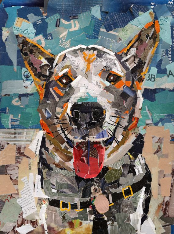 Dog Collage Portrait Henry by MaritzaHernandezArt on Etsy, $150.00