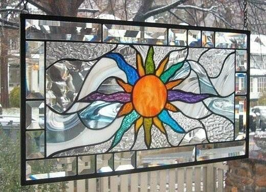 "**MAKE YOUR OWN SUNSHINE** Stained Glass Window Panel (Signed and Dated) - or ""YOU ARE MY SUNSHINE"" - love it"