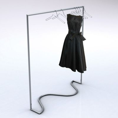 The Wave clothes rack is an inventive new space saving rack that removes the protruding stabilising legs of contemporary clothes racks. The simple fluid line of the base contrasts elegantly with the vertical and horizontal rail, marrying beautifully together to form a gracefully dancing ribbon of steel.