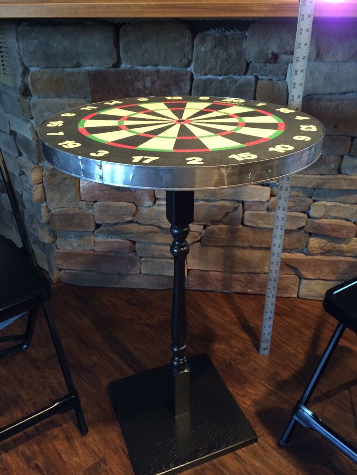 Repurposed Dart Board Into Table Dart Board Table Stair