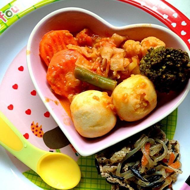 #娘の離乳食の記録 *ご飯*豚肉と野菜のトマト煮*ひじきの煮物 - 11件のもぐもぐ - 幼児食30dお昼ご飯 by attyann
