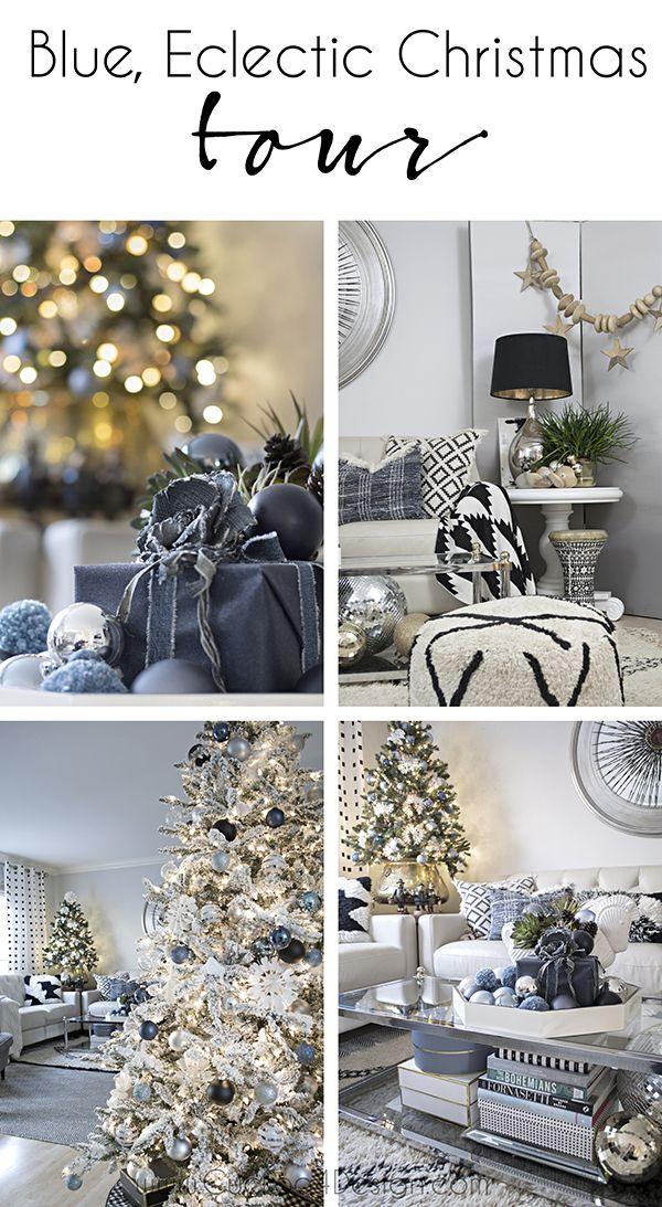 101 best Christmas decor images on Pinterest Christmas decor - blue and silver christmas decorationschristmas tree decorations