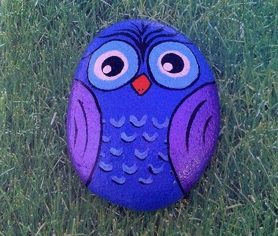 Painted Owl Stone hand painted rock garden by Moodstones on Etsy