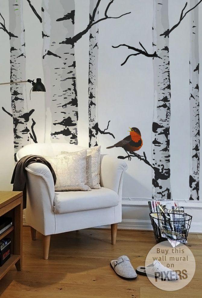 Fall wall decor - trees and bird #livingroom #autumn