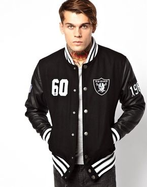 Image 1 of Majestic Oakland Raiders Dean Letterman Jacket ( real men wear black RAIDERS!)