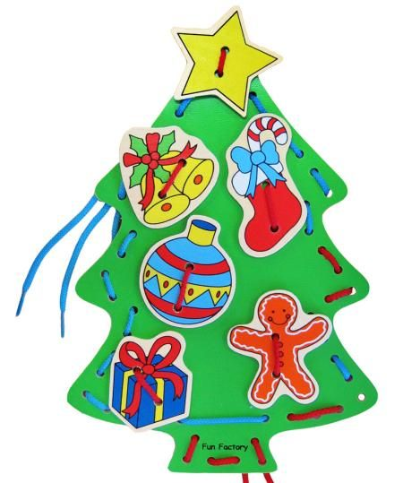 Wooden Lacing Christmas Tree - $10 This set consists of one wooden Christmas tree with holes spaced around the outside edge and in the middle, 7 wooden decorations also with holes in them and two brightly coloured laces. Children always want to do things themselves. With the lacing Christmas tree you can let them!  Lacing shapes foster creative play, encourages independent skills and strengthens fine motor skills especially hand eye co-ordination. 3yrs +
