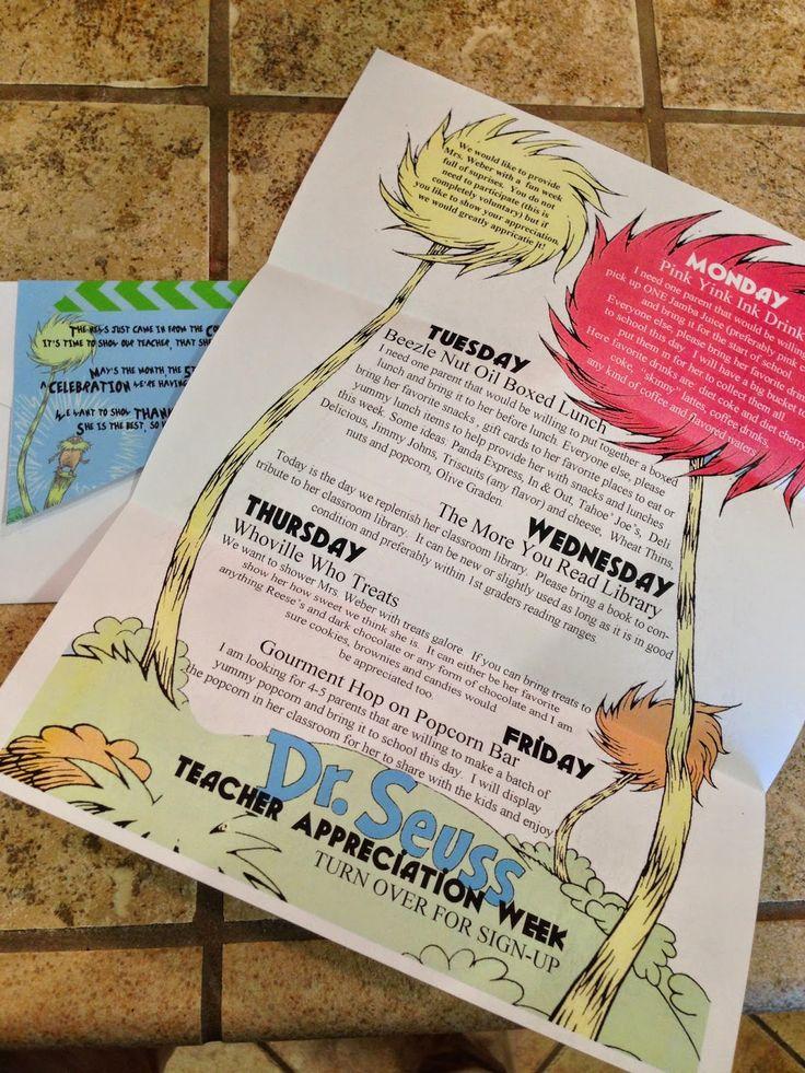 Teacher Appreciation Week 2014 w/ Dr. Seuss theme