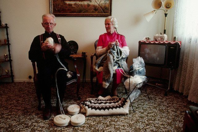 Icelandic couple, Icelandic knitting