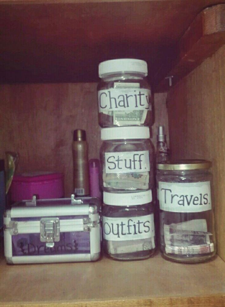 saving money in jars .. jars ideas. Money jar ❤