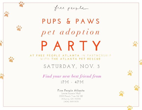 Post image for Pet Adoption Event At Free People Atlanta!