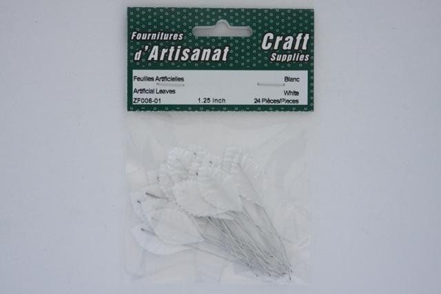 ZF006-01 Artificial Leaves 1.25 inch White 12 Pieces